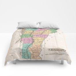 Vintage Map of Vermont (1827) Comforters