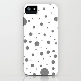 Mixed Polka Dots - Gray on White iPhone Case