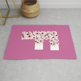 Colorful capital letter F patterned with sakura twig Rug
