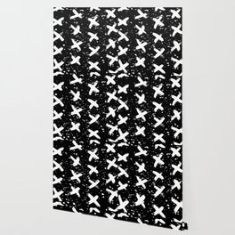 X Paint Spatter Black and White Wallpaper