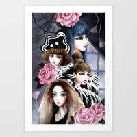 2ne1 Art Prints featuring 2NE1 by Yuki Chen