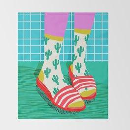 Sliders - memphis throwback retro neon 1980s 80s style pop art shoe fashion grid pattern socks Throw Blanket