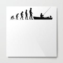 Angler Fisherman Fishing Boat Evolution Funny Gift Metal Print