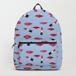 Lips and lispticks pattern in clear background Backpack