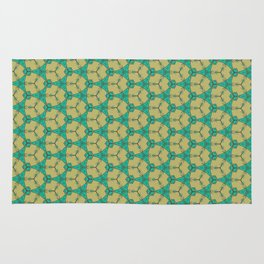 Hex Pattern 65 - Taupe/Turquoise Rug