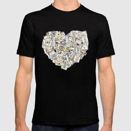 Camera Heart - on yellow T-shirt