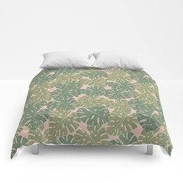 Monstera leaves Comforters