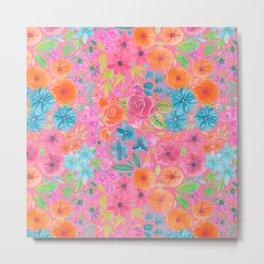 Floral watercolor pattern in pink Metal Print