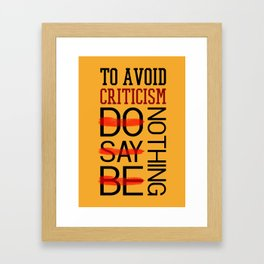 Lab No. 4 Do Say Be Nothing Elbert Hubbard Famous Motivational Quotes Framed Art Print