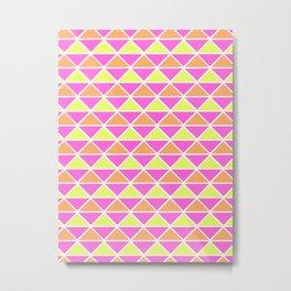 Triangle pattern – pink orange yellow Metal Print