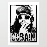 kurt cobain Art Prints featuring Vector Cobain by Emma Porter