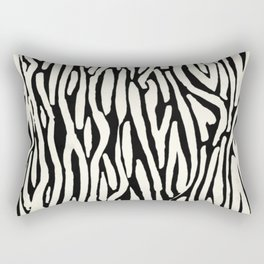Zebra Stripes Tribal Black and Cream Rectangular Pillow