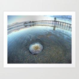 Chris Harsh Photos * A Low Tide Sand Dollar * Huntington Beach Pier  Art Print