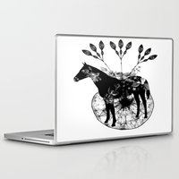 hiphop Laptop & iPad Skins featuring Black and white horse and the flowers by JBLITTLEMONSTERS