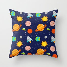 Planet Party Throw Pillow