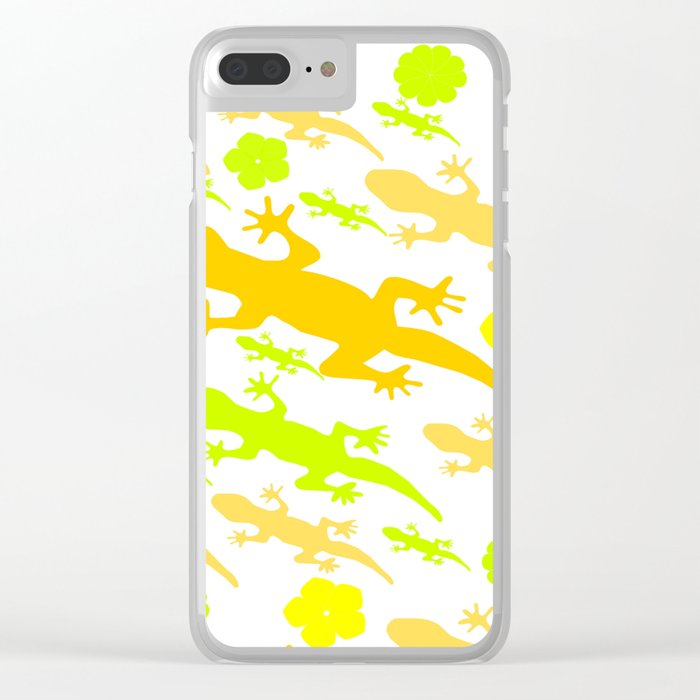 Lizards in yellow and green Clear iPhone Case