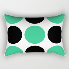 Mid Century Modern Polka Dot Pattern 9 Black and Green Rectangular Pillow