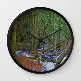 The Trail to the Falls - Nature Photo HDR Wall Clock