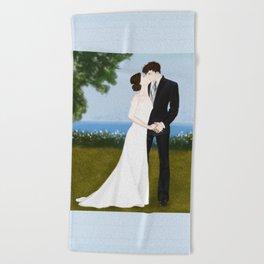 valentine kiss #1 Beach Towel