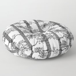 Pine Forest (Black and White) Floor Pillow