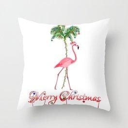 Merry Christmas Pink Flamingo Beach Xmas Throw Pillow