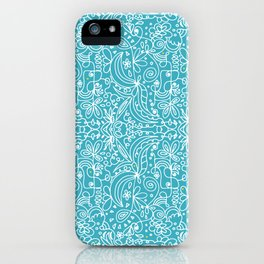 White line doodles on blue iPhone Case