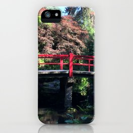 Red bridge at Kubota Garden iPhone Case