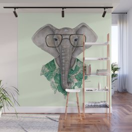 E is for an Elephant in Eyeglasses | Watercolor Tropical Elephant Wall Mural