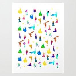 Princesses Inspired Silhouette Art Print