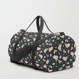 Silkie Guinea Pigs Kawaii Unicorn Pattern in Black Duffle Bag