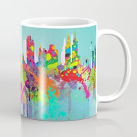 new york Mugs featuring NEW YORK, NEW YORK by mark ashkenazi