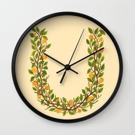Leafy Letter U Wall Clock