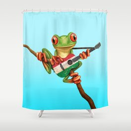 Tree Frog Playing Acoustic Guitar with Flag of Hungary Shower Curtain
