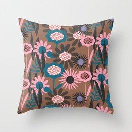 Abstract jungle flora Throw Pillow