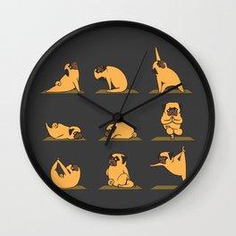 Pug Yoga // Black Wall Clock