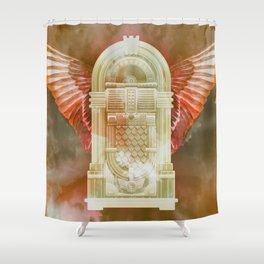 Rose Gold Retro Flying Jukebox Shower Curtain