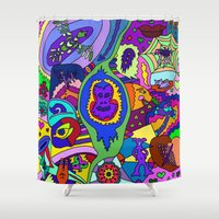 psychadelic Shower Curtains featuring Abstract 18 by Linda Tomei