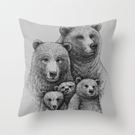 Family photo (mr. Bear) Throw Pillow