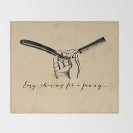 Sweeney Todd - Easy Shaving for a Penny - Demon Barber Throw Blanket