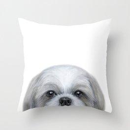 Shihtzu Grey tone by miart Throw Pillow