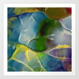 Abstract Art - Bubbled Paint - Blue / Yellow / Green / Purple Art Print