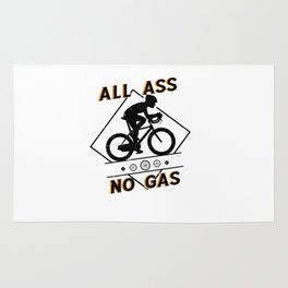 Funny MTB BMX Cyclist Graphics All Ass No Gas Puns Rug
