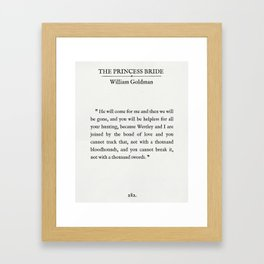 """Book Page - The Princess Bride """"The Bond of Love"""" Quote Framed Art Print"""
