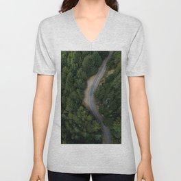 NATURE - PHOTOGRAPHY - FOREST - HIGHWAY - ROAD - TRIP - TREES Unisex V-Neck