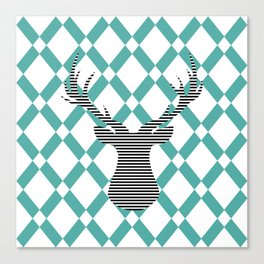 Deer - Abstract geometric pattern - blue and white. Canvas Print