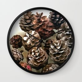 Pine Cones Organic Christmas Ornaments Wall Clock