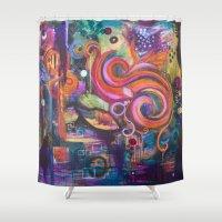 siren Shower Curtains featuring Siren by Sparkle & Flourish by Jennifer Magel