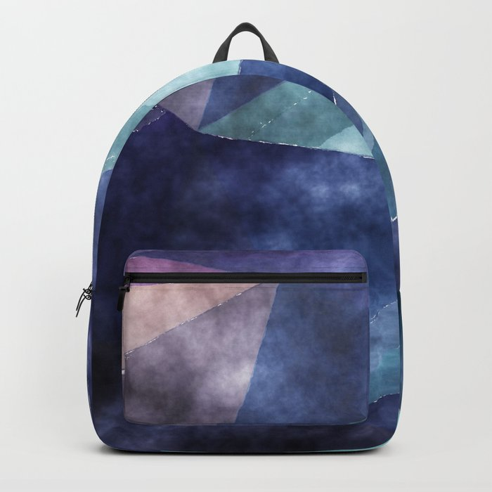 The deep blue sea- Watercolor triangles pattern in blue colors Backpack