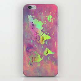 world map 50 pink iPhone Skin