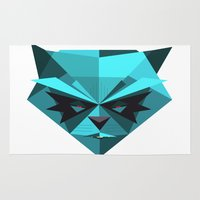 racoon Area & Throw Rugs featuring Rocky Racoon by rybbrybson